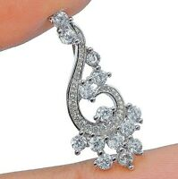 White Sapphire 925 Solid Genuine Sterling Silver Pendant Jewelry, Y1