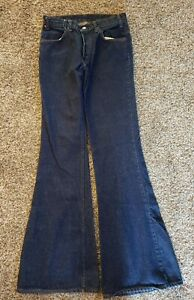 Vtg 1970's Levis 684 Bell Bottom Denim Indigo Jeans Orange Tab Made USA 31x36