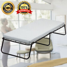 Twin Size Folding Rollaway Guest Metal Bed With Memory Foam Mattress Camping Cot
