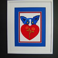 "GEORGE RODRIGUE BLUE DOG VALENTINE CARD - WHITE FRAME / BLUE MAT - 11.25""x13.25"""