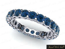 1.40Ct Round Blue Diamond Shared Prong Gallery Eternity Band Ring 10k Gold SI2