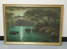 Vintage Framed Oil Painting of a Moonlit River - Signed by Artist