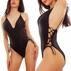 Costume intero donna stringato monokini sgambato Made in Italy TOOCOOL W1173