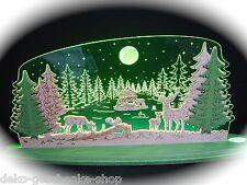 3D LED Arc Lumineux Verre acrylique Arches avec bois forêt motif animaux 47x22cm