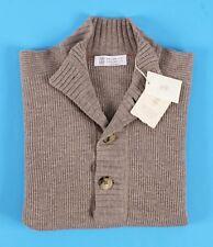 $1550 NWT BRUNELLO CUCINELLI 100% CASHMERE 4 BUTTON Sweater - Tan - 50 Medium