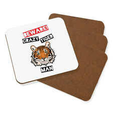 Beware Crazy Tiger Man Coaster Drinks Mat Set Of 4 - Funny Animal