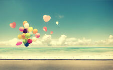SUPERB RETRO VINTAGE BALLOONS ON A BEACH CANVAS #484 QUALITY FRAMED ART PICTURE