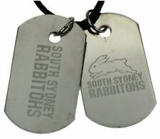 SOUTH SYDNEY RABBITOHS NRL LOGO DOUBLE DOG TAG S/S LEATHER NECKLACE JEWELLERY