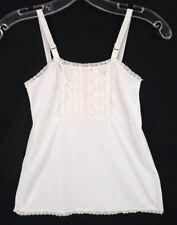 Vintage 70 Girls White Nylon Camisole Dress Mini Slip 5/6 S Pastel Lace Trim Top