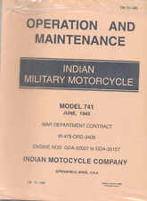 Militaire indienne Moto operation and maintenance modèle 741 Book US Army WW2