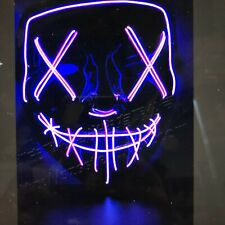 NEW YEARS EVE PURPLE LIGHT UP FACE MASK party, rave, concert, glow, fancy dress