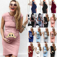 New Women's Comfortable Casual Daily Wear Pregnant Maternity Solid Color Dress L