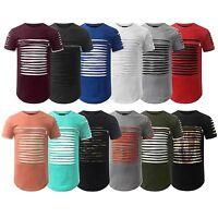 NEW Men 12 Colors Ripped Distress Short Sleeve Shirt Chest Zipper Camo Gold Foil