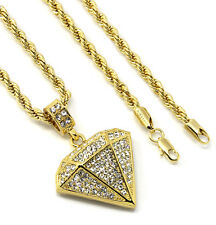 """Mens 14k Gold Plated Small D-Shape Cz Pendant Hip-Hop 30"""" 4mm Rope Chain"""