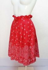 TOPSHOP red pink Floral cotton High waist Knee length Flare pleated skirt 8 W29