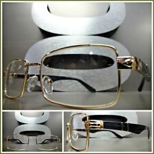 Mens CONTEMPORARY MODERN Style Clear Lens EYE GLASSES Gold & Black Fashion Frame