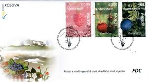 Kosovo Stamps 2021. Forest fruits: blueberry, strawberry, raspberry. FDC Set MNH