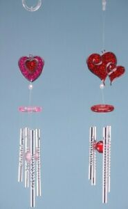 HEART GLITTER WIND CHIMES, RED OR PINK, SHED OR ANYWHERE 28CM x1