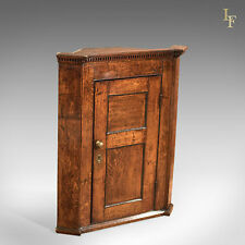 Antique Corner Cabinet, Georgian Oak Hanging Cupboard, English Country c.1750