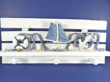 Nautical Decorative Wall Hanging Shelf with Pegs Sailboat Life Preserver Anchor