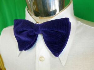 Vintage 60s 70s Purple Velvet Strap On Adjustable Bow Tie Prom Formal Vegas