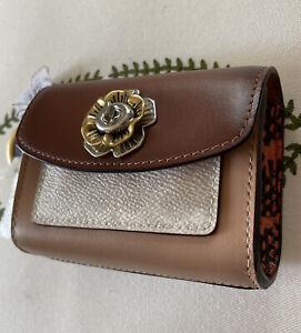 💚 COACH Mini Parker Purse Bag Charm Keyfob Key Chain Card Case Tan Snakeskin