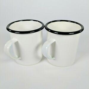 Set of 2 - Hearth and Hand Magnolia - 16oz Enamel Coffee Mugs White w/Black Rim