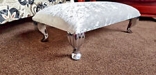 Footstool  Pouffe Stool QueenAnne Legs British Made silver Crushed Glitz Velvet