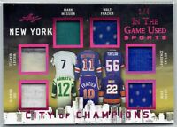 2018 Leaf In The Game Used Jersey Mantle Namath Messier Frazier Taylor Bossy 1/4