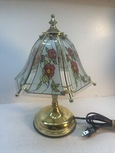 Vintage Small Mini Touch Lamp With Glass Panels Brass Tone With Florian Design