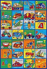 ABC Transportation Area Rug 5' x 7' Children Cars Carpet Non Skid Gel Backing