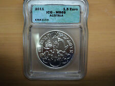 2011 ICG-MS69 Austria Philharmoniker 1.5 Euro .999 Fine Silver Coin