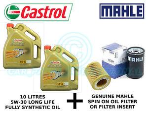 MAHLE Engine Oil Filter OX 339/2D plus 10 litres Castrol Edge 5W-30 LL F/S Oil