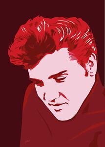 Elvis Presley - Elvis In Red - Original (signed) art print - Jarod Art