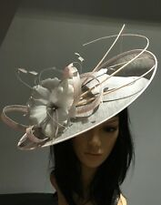 NIGEL RAYMENT SILVER AND PINK WEDDING ASCOT DISC FASCINATOR Mother The Bride Hat