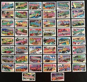 2002 Scott #3561-3610 - 34¢ - GREETINGS FROM AMERICA - Set of 50 Singles - MNH