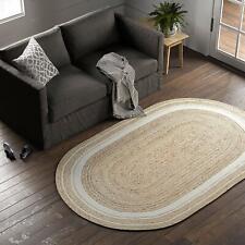 Rug Jute Natural Handmade Vintage Oriental Reversible Oval Shaped Floor Carpet