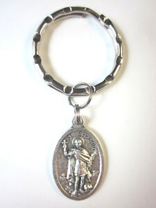 St  Espedito ( Expedite ) Medal Italy Key Ring Gift Box & Prayer Card