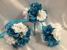A Turquoise Purple Lily Silk Rose Wedding Bridesmaid and boutonniere