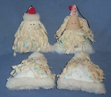 4pc Handmade Antique Quilt Quilted Santa Claus Christmas Ornament Cloth Rag Doll