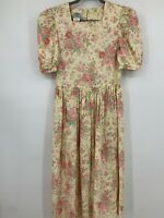 Laura Ashley dress 6 floral drop waist puff sleeves Vintage 1980's Romantic