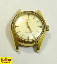 Vintage OMEGA SEAMASTER LADYMATIC Solid 18K Yellow Gold Woman's Watch 20.7g Runs