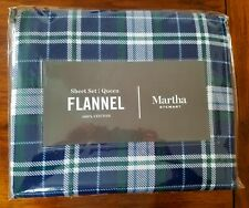 NEW Martha Stewart Sheet Set Blue Green White Lodge Flannel Plaid Queen SOFT
