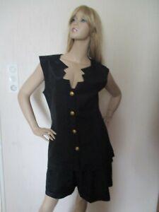 Damen 2-Teiler Gr. M-L, schwarz, schicke Bermuda Short mit Bluse Top, ungetragen