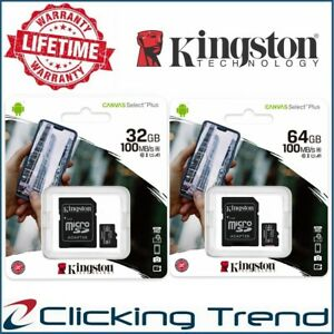 Micro SD 32gb 64gb Kingston Class10 Memory Card Phone Canvas Select Plus 100Mb/s