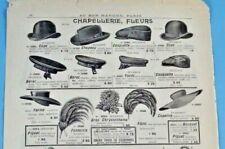 1905 Ancienne Publicité Gravure Modes capeline forme parapluie cape chapeau yatc