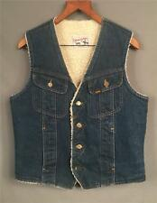 Vintage Lee Storm Rider Denim Jean Ranch Vest Western Sherpa Sz.M Made in USA
