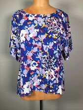 Anthropologie Maeve Purple Blue Floral Print Boxy Square Dolman Top Size XS