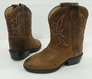 Dan Post Brown Leather Western Cowboy Boots Kicks Kid Boys Girls Toddler 4.5