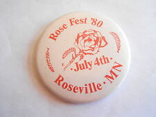 Cool Vintage July 4th 1980 Rose Fest Roseville MN Festival Souvenir Pinback